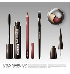 Realistic professional cosmetic tools set vector