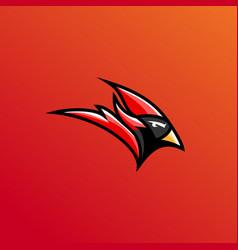 red cardinal head red cardinal logo e sport vector image