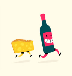 running cheese and a bottle wine characters vector image