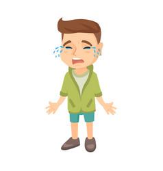 sad caucasian boy sobbing vector image