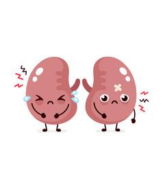 Sad suffering sick cute kidneys character vector