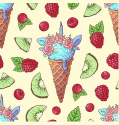 Seamless pattern ice cream kiwi raspberry cherry vector