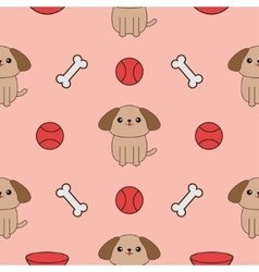 Seamless Pattern with dog bone plate ball toy vector