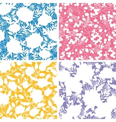 Set of four floral silhouettes seamless patterns vector image