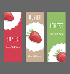 Set of vertical narrow banners with strawberries vector