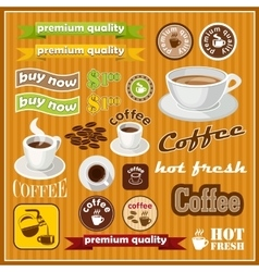 Set of vintage coffee and tea icon vector image