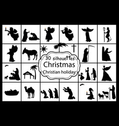 set silhouettes christmas nativity christian vector image