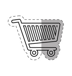 Shopping cart commerce online cut line vector