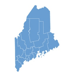 State map of Maine by counties vector