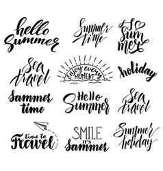 summer hand drawn brush letterings summer badge vector image