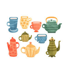 tea time set collection of cups mugs coffee and vector image