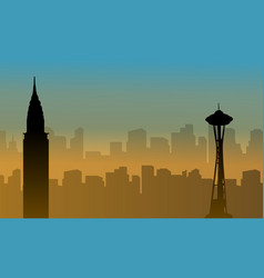 usa building beauty landscape silhouettes vector image