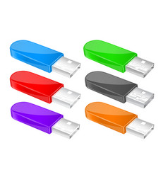usb flash drive colored memory sticks vector image