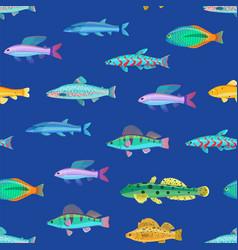 varicoloured marine creatures seamless pattern vector image