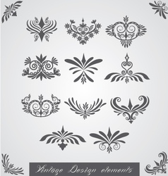 Vintage corners elements of design vector image