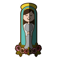 White background of christian virgin and ornament vector