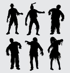 Zombie horror silhouette vector