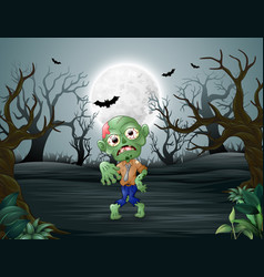 zombies walking in the dead forest on night vector image