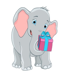 baby elephant with a gift vector image vector image