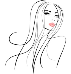 Beautiful girl with long hair and pink lips vector image vector image