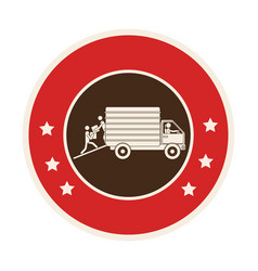circular frame of truck with wagon vector image