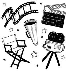 Doodle movie film camera director chair clapper vector