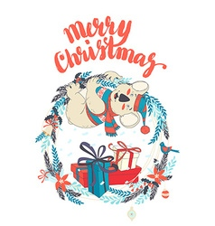Funny Merry Christmas card with koala wearing cute vector image vector image