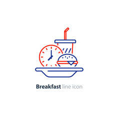 lunch plate early breakfast burger and drink glass vector image