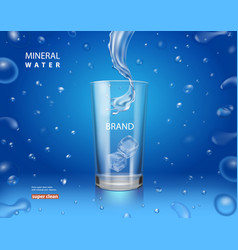 mineral pure water ad drinking glass cup vector image