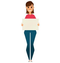 modern business woman holding blank sign vector image vector image