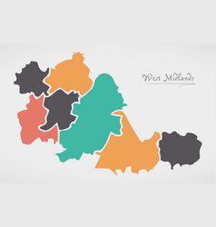 West midlands england map with states and modern vector