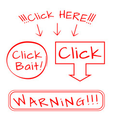 click bait here warning vector image