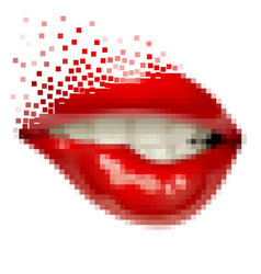 pixel art female sexy gloss red lips vector image