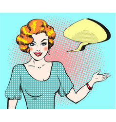 pop art woman with speech bubble pin up retro vector image