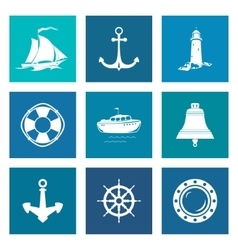 Set of Blue Marine Icons vector image vector image