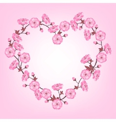 Spring sakura flowers Valentines day background vector image vector image