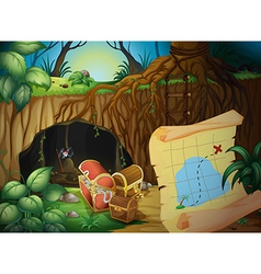A cave a treasure chest and a map vector image vector image
