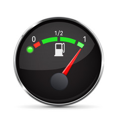 black fuel gauge with chrome frame full tank vector image