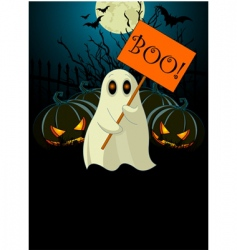 ghost with sign halloween invitation vector image