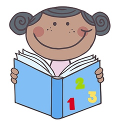 African American Girl Reading A Book vector image