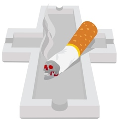 Ashtray with cigarette vector image