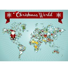 Christmas globe map concept vector image