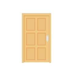 Closed wooden door icon cartoon style vector image
