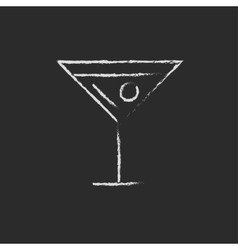 Cocktail glass icon drawn in chalk vector image vector image