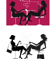 girls at caffee vector image