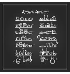 Kitchen utensils on shelves sketch drawing for vector image vector image