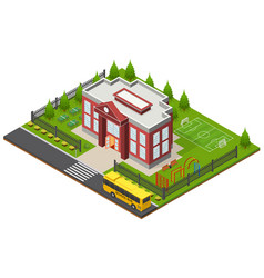 shcool building isometric view vector image vector image