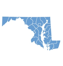 State map of Maryland by counties vector image vector image