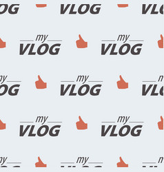 Video blog seamless pattern on a light background vector