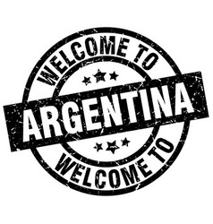 welcome to argentina black stamp vector image